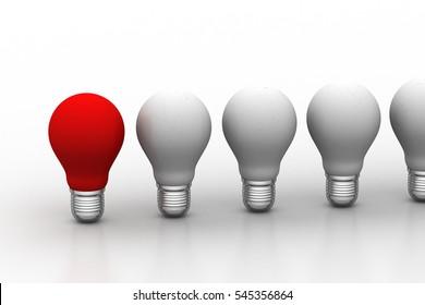 3D rendering of light bulb, new idea concept