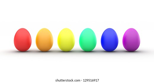 3D Rendering of a Line of Rainbow Colored Easter Eggs