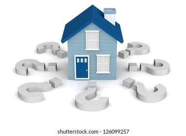 A 3D rendering of a little blue house on a white background with questions marks surrounding it. Could be used for a home buyers seminar workshop relating to questions about first time home buyers.