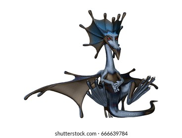 3D rendering of a little fairytale dragon isolated on white background
