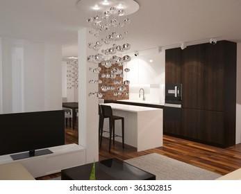 3d rendering of a living room interior design
