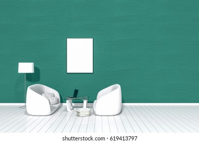 3d rendering : living room Minimalist interior light and shadow with white two fabric sofa at front of green brick wall and wooden floor. minimal loft style wall background. design your HOME concept