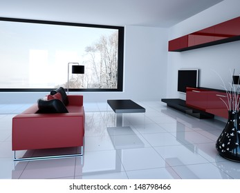 3D rendering of living room and tv storage combination
