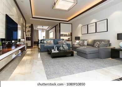 3d rendering loft luxury living room with bookshelf and tv