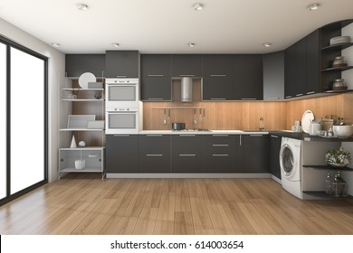 3d rendering loft modern black kitchen with wood decor