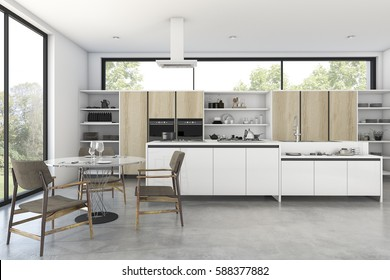 3d rendering loft wood kitchen with nice view from window