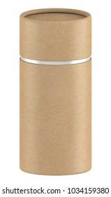 3D rendering Long kraft paper tube packaging mock up on white background