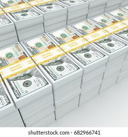 3d rendering lots of packs of US dollars in high quality