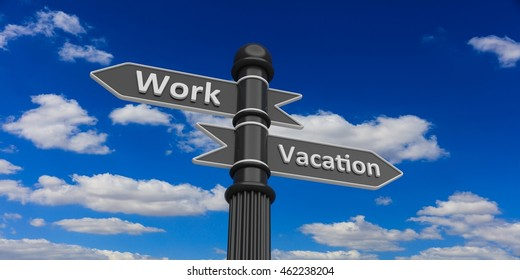 3D rendering Low perspective of two arrows on signpost against of cloudy sky.Work and vacation.