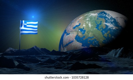 3D rendering lunar terrain on Earth planet with Greece flag