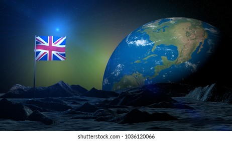 3D rendering lunar terrain on Earth planet with England flag