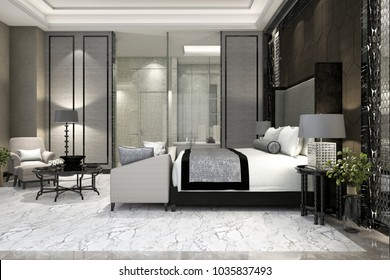 3d rendering luxury suite bedroom in hotel near glass bathroom