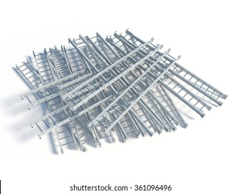 3d rendering of lying white metal ladder heap, isolated on white background