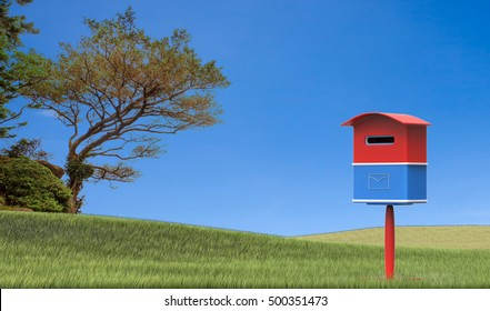 The 3d rendering mailbox with nice background image