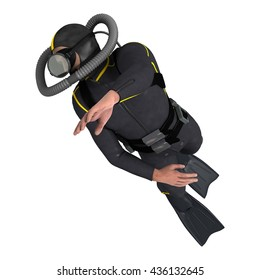 3D rendering of a male diver isolated on white background