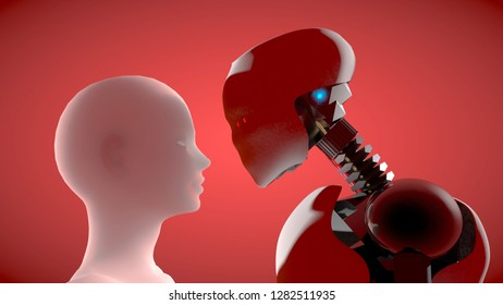 3D rendering of male and female artificial intelligence humanoid robots looks at each other in a love-full way.