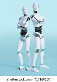 3D rendering of a male and a female robot standing and posing. Looking like they have an attitude with their arms crossed over their chests. Bluish background.