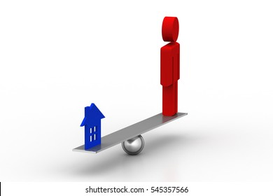 3D rendering of Man  balancing with small home