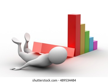 3d rendering of Man lying under the business graph