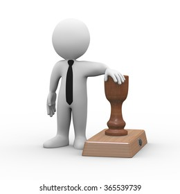 3d rendering of man standing with rubber stamp. 3d white person people man
