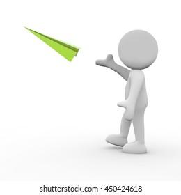 3D Rendering Man throwing paper airplane