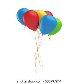 3d rendering of many colorful balloons tied together with a string. Gifts and greetings. Celebrations and opening nights. Birthday and anniversary.
