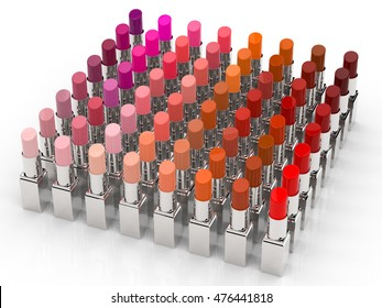 3d rendering many shades of lipsticks