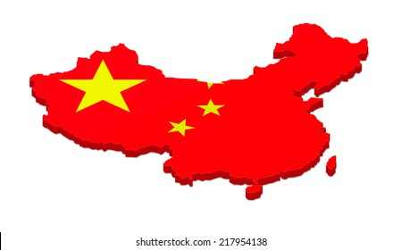 3D rendering of the map of China. Isolated on white background.