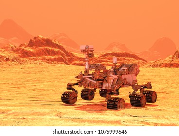 3D rendering of a Mars rover space vehicle on a red planet landscape background