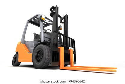 3d rendering massive powerful forklift truck isolated on white background