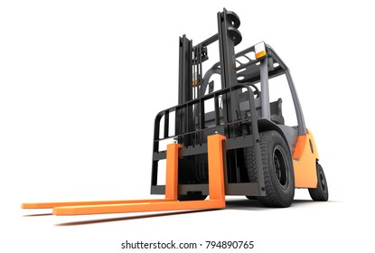 3d rendering massive powerful forklift truck on white background in right to left direction. Front side view. Perspective