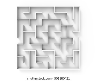 3d rendering maze, top view of round white maze template, labyrinth for business concept or education