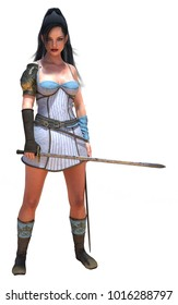 3d rendering medieval beauty woman warrior with costume and sword isolated on white standing