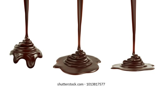 3D rendering of melted dark chocolate pouring and folding on sphere form and ground plane, isolated on white