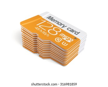 3d rendering of memory micro sd card stack. Isolated on white background