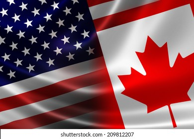 3D rendering of a merged Canadian and USA flag on satin texture. Concept of the mutually influential relations between the two countries politically and economically.