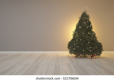 3d rendering of Merry X' mas tree on interior decoration empty room