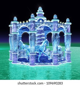 3d rendering for merry-go-round of ice sculpture with concise background