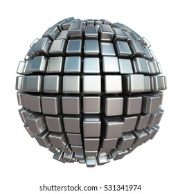 3D rendering of a metallic sphere formed by cubes