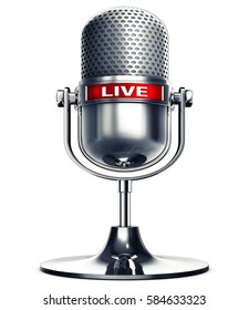 3D rendering of a microphone with the word live