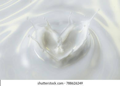 3D Rendering of Milky Lotion with Heart Shape Crown Splash