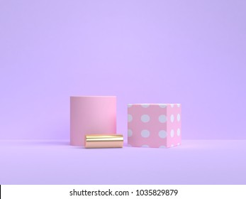 3d rendering minimal pink geometric shape violet-purple background