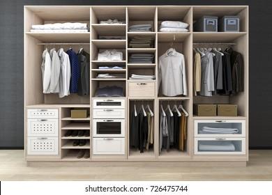 3d rendering minimal scandinavian walk in closet with wood wardrobe