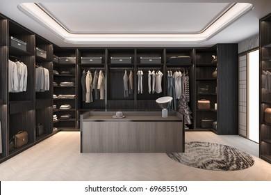 3d rendering minimal scandinavian wood walk in closet with wardrobe