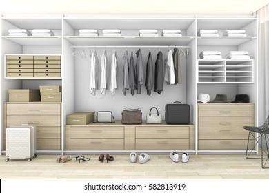 3d rendering minimal wood walk in closet with wardrobe
