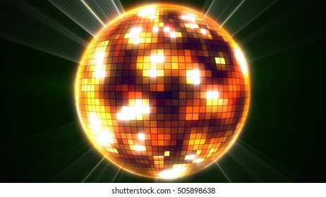 3d rendering of mirror disco ball. Party concept.