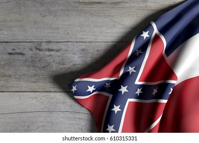 3d rendering of a Mississippi State flag on a wooden surface
