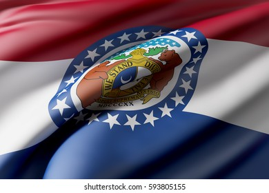 3d rendering of a Missouri State flag waving