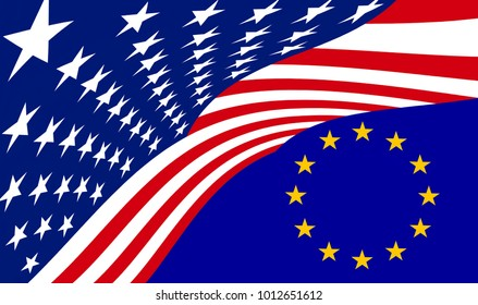 3D rendering mix of the flags of europe and america