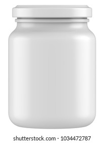 3D rendering Mock up plastic jar with screw cap, Packaging template on white background